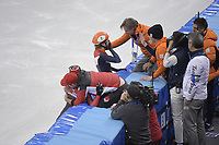OLYMPIC GAMES: PYEONGCHANG: 22-02-2018, Gangneung Ice Arena, Short Track, A-Final 1000m Ladies, Olympic Champion Suzanne Schulting (NED), Jeroen Otter (Coach), ©photo Martin de Jong