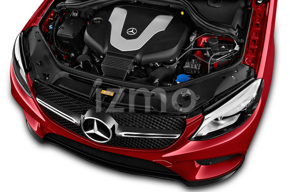Car Stock 2018 Mercedes Benz GLE-Class 350 5 Door SUV Engine  high angle detail view
