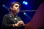 Yudith Nieto, community organizer, activist and artist from Houston, Texas speaks at the Powershift 2013 plenary in Pittsburgh, PA. (Photo by: Robert van Waarden)
