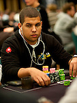 Bruno Severino of Brazil is near the chip lead coming back from the dinner break.
