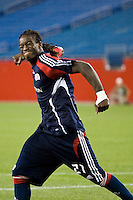 New England Revolution midfielder Shalrie Joseph (21) celebrates scoring during the penalty kick shootout. The New England Revolution defeated the Houston Dynamo 2-2 (6-5) in penalty kicks in the SuperLiga finals at Gillette Stadium in Foxborough, MA, on August 5, 2008.