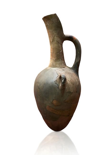 Hittite long neck beak spout pointed base terra cotta vessel. Hittite Old Period, 1650 - 1450 BC. Huseyindede. Çorum Archaeological Museum, Corum, Turkey. Against a white bacground.
