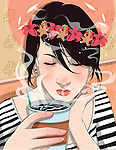 Illustration of young woman drinking coffee