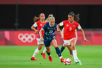 21st July 2021; Sapporo, Japan;   Rachel Daly 12 Great Britain and Maria Jose Urrutia 9 Chile challenge for the ball during the womens Olympic Football Tournament Tokyo 2020 match between Great Britain and Chile at Sapporo Dome in Sapporo, Japan. Great Britain won the game by a score of 2-0