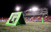 Oct. 8, 2009; Las Vegas, NV, USA; Detailed view of a UFL logo on the goal line marker during the game between the California Redwoods against the Las Vegas Locomotives in the inaugural United Football League game at Sam Boyd Stadium. Las Vegas defeated California 30-17. Mandatory Credit: Mark J. Rebilas-