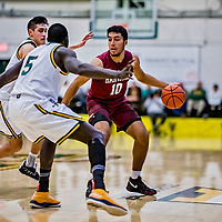 8 December 2018: Harvard University Crimson Guard Noah Kirkwood, a Freshman from Ottawa, Ontario, in action against the University of Vermont Catamounts in Men's Basketball at Patrick Gymnasium in Burlington, Vermont. The America East Catamounts overcame a 10-point 2nd half deficit, to defeat the Ivy League Crimson 71-65 in NCAA Division I inter-league play. Mandatory Credit: Ed Wolfstein Photo *** RAW (NEF) Image File Available ***