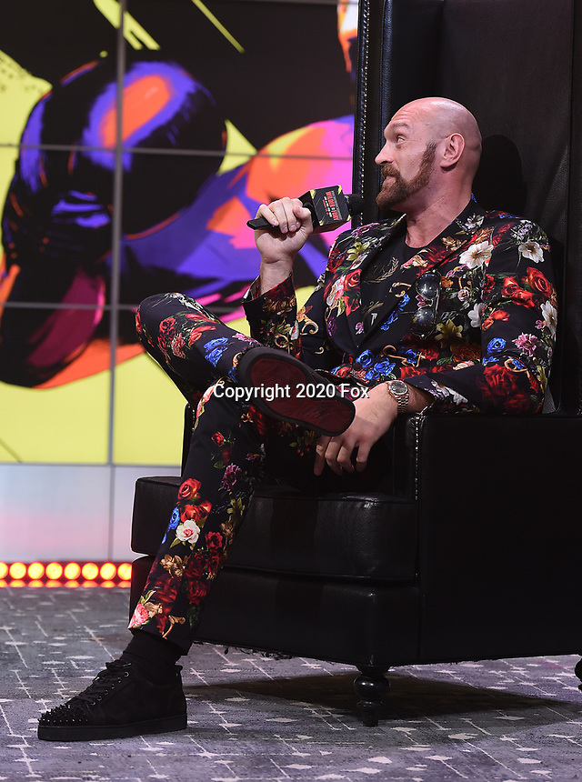 "LOS ANGELES - JANUARY 25: Tyson Fury attends a Los Angeles press conference on January 25, 2020 for the ""Wilder vs Fury II"" FOX SPORTS PPV & ESPN+ PPV which will take place on Feb. 22 from the MGM Grand Garden Arena in Las Vegas. (Photo by Frank Micelotta/Fox Sports/PictureGroup)"