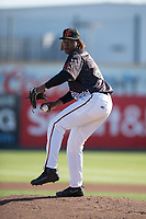 San Jose Giants starting pitcher Melvin Adon (47) prepares to deliver a pitch during a California League game against the Lancaster JetHawks at San Jose Municipal Stadium on May 12, 2018 in San Jose, California. Lancaster defeated San Jose 7-6. (Zachary Lucy/Four Seam Images)