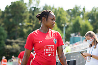 CARY, NC - SEPTEMBER 12: Taylor Smith #2 of the NC Courage exits the field after warming up before a game between Portland Thorns FC and North Carolina Courage at WakeMed Soccer Park on September 12, 2021 in Cary, North Carolina.