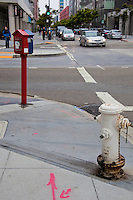 A fire alarm box and hydrant stand ready at a San Francisco intersection.
