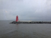 Red Lighthouse in Rain
