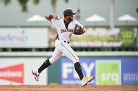 Bradenton Marauders shortstop Maikol Escotto (35) throws to first base during Game One of the Low-A Southeast Championship Series against the Tampa Tarpons on September 21, 2021 at LECOM Park in Bradenton, Florida.  (Mike Janes/Four Seam Images)