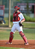 Lake Mary Rams catcher Frank Nieman (8) during practice before a game against the Lake Brantley Patriots on April 2, 2015 at Allen Tuttle Field in Lake Mary, Florida.  Lake Brantley defeated Lake Mary 10-5.  (Mike Janes/Four Seam Images)