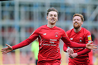 O's Dan Kemp celebrates after scoring during Leyton Orient vs Oldham Athletic, Sky Bet EFL League 2 Football at The Breyer Group Stadium on 27th March 2021