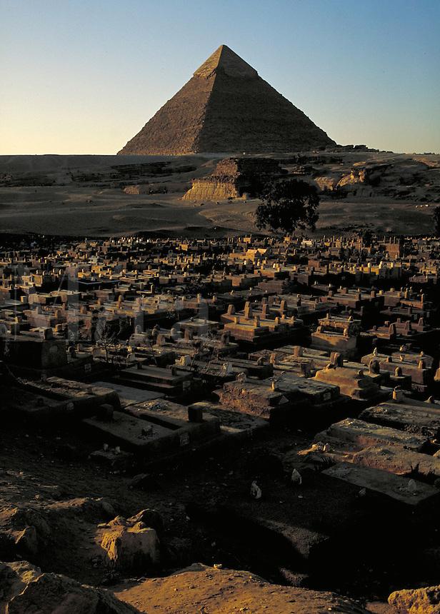 Coptic cemetery w  Giza Pyramids in background. Cairo Egypt, Giza Pyramids.