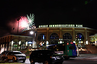 Post-game fireworks for the Columbia Fireflies following a game against the Rome Braves on Monday, July 3, 2017, at Spirit Communications Park in Columbia, South Carolina. Columbia won, 3-2. (Tom Priddy/Four Seam Images)