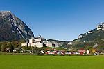 Austria, Styria, Trautenfels: Castle-Museum Trautenfels, at background village Puergg-Trautenfels, since 2015 new comunity name Stainach-Puergg   Oesterreich, Steiermark, Trautenfels: Schloss-Museum Trautenfels, im Hintergrund die Ortschaft Puergg-Trautenfels, seit Januar 2015 ist der neue Gemeindename Stainach-Puergg