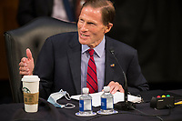 United States Senator Richard Blumenthal (Democrat of Connecticut) questions the panel of witnesses during the third panel of testimony from outside witnesses about the nomination of Supreme Court Justice nominee Amy Coney Barrett on the fourth day of Senate confirmation hearings in the Hart Senate Office Building on Capitol Hill in Washington, DC, Thursday, October 15, 2020. Credit: Rod Lamkey / CNP /MediaPunch