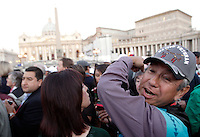 Nativi americani attendono l'inizio della cerimonia di canonizzazione di Kateri Tekakwitha, insieme ad altri sei nuovi santi, in Piazza San Pietro, Citta' del Vaticano, 21 ottobre 2012..Native American Indians stand outside of St. Peter square prior to take part in a canonization ceremony at the Vatican, 21 October 2012. Kateri Tekakwitha, a 17th-century Mohawk Indian who spent most of her life in what is now upstate New York, was declared a saint along with six others in a ceremony attended by the Pope..UPDATE IMAGES PRESS/Riccardo De Luca