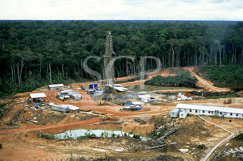 Caraoari, Amazonas State, Brazil. Aerial view of Petrobras oil exploration site in the rainforest.
