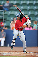 Birmingham Barons infielder Christian Marrero (24) at bat during a game against the Biloxi Shuckers on May 23, 2015 at Joe Davis Stadium in Huntsville, Alabama.  Birmingham defeated Biloxi 2-0 as the Shuckers are playing all games on the road, or neutral sites like their former home in Huntsville, until the teams new stadium is completed.  (Mike Janes/Four Seam Images)