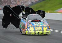 Jun. 18, 2011; Bristol, TN, USA: NHRA funny car driver Tony Pedregon during qualifying for the Thunder Valley Nationals at Bristol Dragway. Mandatory Credit: Mark J. Rebilas-