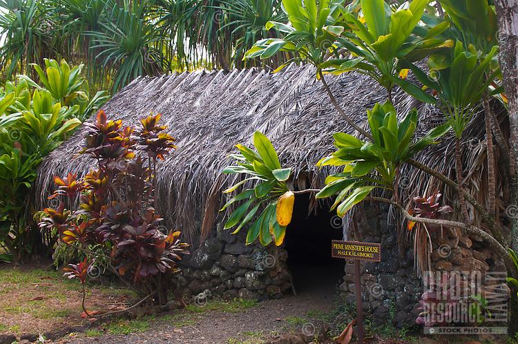 Recreated Hawaiian hut used for a prime minister's house amid ti plants, Kamokila Hawaiian Village, Wailua River Valley, Kauai.