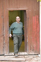 Domaine Entretan, J-C and D Plantade in Roubia. Minervois. Languedoc. A door. The winery building. Owner winemaker. France. Europe.