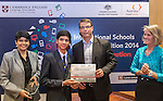 11 Feburary 2015, New Delhi, India: Australian High Commissioner to India Mr. Patrick Suckling with Priya Kamineni of Bond University (left) and and Angela French of Cambridge English presenting certificates and prizes to 2nd place student winners from Billabong International School , Bhopal of the Digital Business section India International Video Competition run by Austrade in conjunction with Cambridge English and major sponsors Singapore Airlines presented at the Australian High Commission, New Delhi.  Picture by Graham Crouch/Austrade
