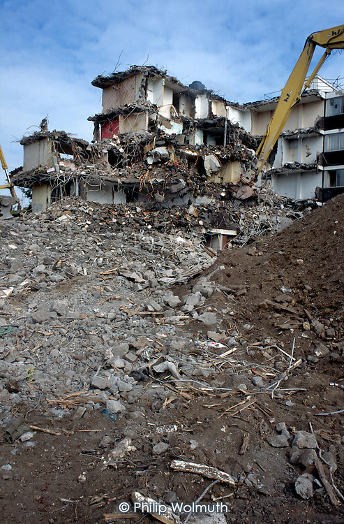 Demolition of Holly Street Estate, Hackney, London.