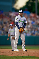 Vermont Lake Monsters relief pitcher Brandon Marsonek (12) gets ready to deliver a pitch during a game against the Tri-City ValleyCats on June 16, 2018 at Joseph L. Bruno Stadium in Troy, New York.  Vermont defeated Tri-City 6-2.  (Mike Janes/Four Seam Images)