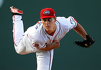 Starting pitcher Madison Younginer (31) of the Greenville Drive in a game against the Augusta GreenJackets on April 19, 2012, at Fluor Field at the West End in Greenville, South Carolina. (Tom Priddy/Four Seam Images)