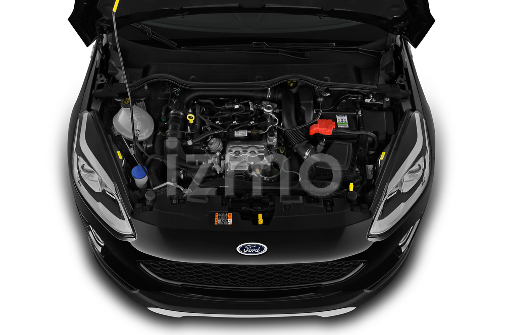 Car stock 2019 Ford Fiesta  Active-3 5 Door Hatchback engine high angle detail view