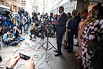 """Benjamin Crump, attorney for the family of Duante Wright, center, speaks at a press conference in response to the George Floyd and Duante Wright cases along with Reverend Al Sharpton, right of center, and members of the """"Mother's of the Movement"""" during the National Action Network (NAN) Virtual Convention 2021 in New York on Wednesday, April 14, 2021. Photograph by Michael Nagle"""