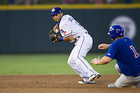 Round Rock Express shortstop Leury Garcia (6) turns a double play against the Iowa Cubs in the Pacific Coast League baseball game on July 21, 2013 at the Dell Diamond in Round Rock, Texas. Round Rock defeated Iowa 3-0. (Andrew Woolley/Four Seam Images)