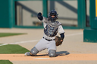 Columbus Clippers catcher Eric Haase (13) before an International League game against the Indianapolis Indians on April 29, 2019 at Victory Field in Indianapolis, Indiana. Indianapolis defeated Columbus 5-3. (Zachary Lucy/Four Seam Images)