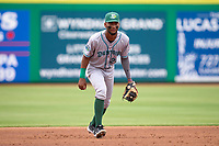 Daytona Tortugas third baseman Reyny Reyes (29) during a game against the Clearwater Threshers on June 25, 2021 at BayCare Ballpark in Clearwater, Florida.  (Mike Janes/Four Seam Images)