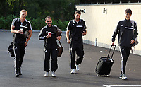 Wednesday 07 August 2013<br /> Pictured L-R: Garry Monk, Leon Britton, Jordi Amat and Ki Sung Yueng departing from the Swansea Training ground.  <br /> Re: Swansea City FC travelling to Sweden for their Europa League 3rd Qualifying Round, Second Leg game against Malmo.
