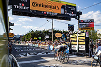 Wout van Aert (BEL/Jumbo-Visma) wins (a close)  bunch sprint against Sam Bennett (IRE/Deceuninck-Quick Step) into Privas<br /> <br /> Stage 5 from Gap to Privas 183km<br /> 107th Tour de France 2020 (2.UWT)<br /> (the 'postponed edition' held in september)<br /> ©kramon
