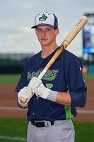 Vermont Lake Monsters Logan Davidson (3) poses for a photo before a NY-Penn League game against the Aberdeen IronBirds on August 18, 2019 at Leidos Field at Ripken Stadium in Aberdeen, Maryland.  Vermont defeated Aberdeen 6-5.  (Mike Janes/Four Seam Images)