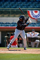 Jupiter Hammerheads first baseman Lazaro Alonso (44) at bat during a Florida State League game against the Florida Fire Frogs on April 11, 2019 at Osceola County Stadium in Kissimmee, Florida.  Jupiter defeated Florida 2-0.  (Mike Janes/Four Seam Images)