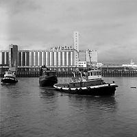 Transport de la Grande-Hermine, au bassin Louise, entre le 31 octobre et le 6 novembre 1966 (date exacte inconnue)<br /> <br /> On remarque les silos a grains du port de Quebec en arriere plan.<br /> <br /> <br /> PHOTO :  Agence Quebec Presse - Photo Moderne