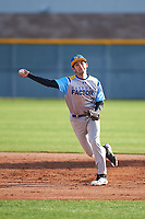 Joseph Hernandez (2) of Righetti High School in Santa Maria, California during the Baseball Factory All-America Pre-Season Tournament, powered by Under Armour, on January 14, 2018 at Sloan Park Complex in Mesa, Arizona.  (Zachary Lucy/Four Seam Images)