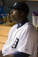 Detroit Tigers' Dontrelle Willis (21) watches the action from the dugout at Comerica Park in Detroit, MI, Sunday, April 27, 2008.