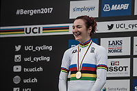Elena Pirrone (ITA) wins her 2nd rainbow jersey in 3 days (after winning the junior iTT title earlier)<br /> <br /> Women Junior Road Race<br /> <br /> UCI 2017 Road World Championships - Bergen/Norway