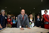 NEW YORK, USA - JUNE 08:  UN Ocean Conference in New York UNHQ PRINCE ALBERT II  AND ADRIAN GRANIER   sign  ocean pledge with children from around the world  at the United Nations (UN) Headquarters in New York, NY, United States on June 08, 2017 <br /> <br /> <br /> People:  Prince Albert II of Monaco