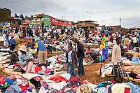 Clothes vendors at the weekly market in the Kenyan village of Iten. The village hosts some of the world's fastest marathon runners who benefit from its high altitude and  general culture of excellence in athletics. It is  fast becomeing a desination for serious athletes and long distance training.