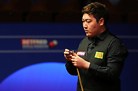 24th April 2021; Crucible Theatre, Sheffield, England; Betfred Snooker World Championships;  China's Yan Bingtao competes during the second round match with England s Shaun Murphy