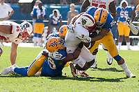 Pitt linebacker Elijah Zeise (25) tackles North Carolina State running back Nyheim Hines. The North Carolina Wolfpack defeated the Pitt Panthers 35-17 at Heinz Field, Pittsburgh, PA on October 14, 2017.