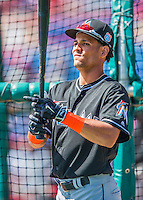 7 March 2016: Miami Marlins outfielder Yefri Perez awaits his turn in the batting cage prior to a Spring Training pre-season game against the Washington Nationals at Space Coast Stadium in Viera, Florida. The Nationals defeated the Marlins 7-4 in Grapefruit League play. Mandatory Credit: Ed Wolfstein Photo *** RAW (NEF) Image File Available ***